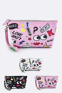 Assorted Color Mix Print Wristlet Pouches