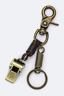 Whistle Leather Key Charm