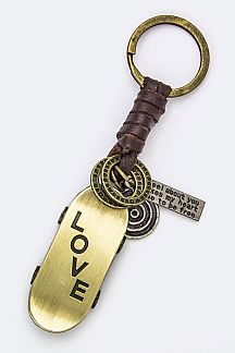 LOVE Skateboard Leather Key Charm