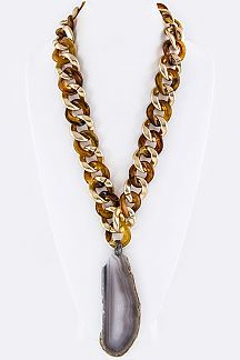 Jumbo Stone Slice Chunky Chain Necklace