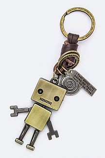 Robot Leather Key Charm