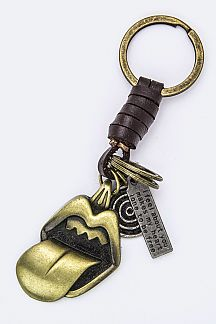 Big Mouth Leather Key Charm
