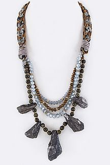 Mix Beads & Stones Layer Statement Necklace