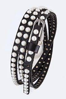 Pearl Studs Iconic Double Wrap Leather Belt