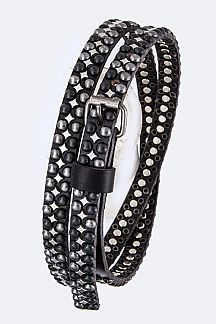 Heavy Studed Iconic Skinny Leather Belt