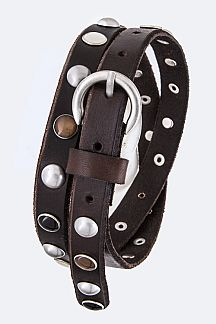 Mix Stones Studded Skinny Leather Belt