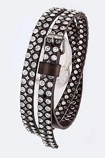 Mix Studs Distress Skinny Belt