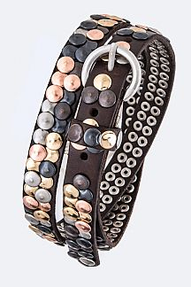 Hammered Studs Iconic Tri-Tone Leather Belt