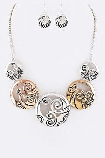 Laser Cut Mix Disks Statement Necklace Set