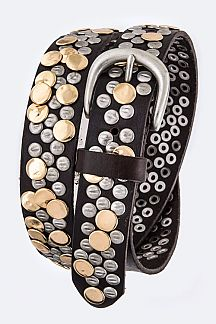 Hammered Studs Iconic Retro Leather Belt
