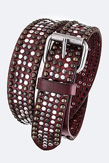 Mix Studs Distress Retro Leather Belt