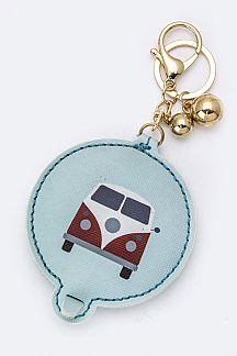 Camping Van Compact Mirror Key Chain