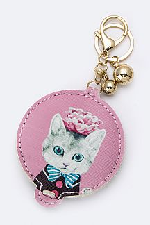 Miss Kitty Compact Mirror Key Chain
