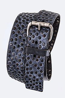 Tonal Studs Distress Retro Leather Belt