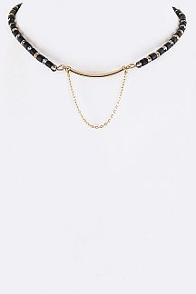Mix Beads & Metal Bar Choker Necklace