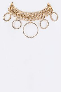 Crystal Hoops Chain Choker Necklace