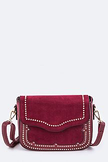 Studded Mix Leather Crossbody Bag