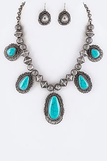 Metal Beads & Turquoise Statement Necklace Set