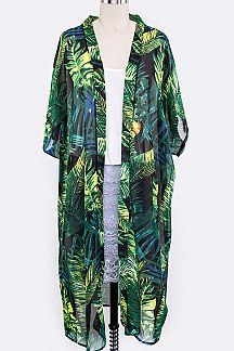 Tropical Leaves Print Long Cardigans