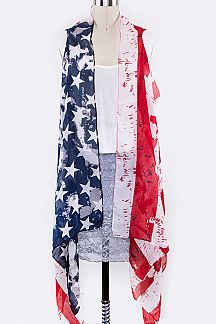 American Flag Sleeveless Cardigans