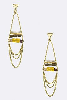 Mix Bead & Chain Hoop Earrings