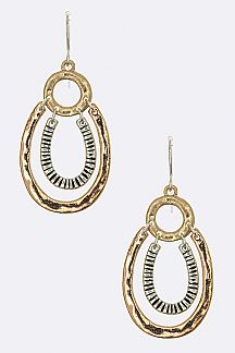 3 Tone Layer Horseshoe Earrings