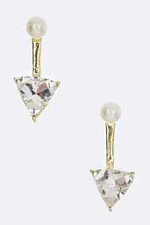 Triangle Crystal Pearl Stud Earrings