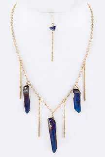 Quartz Drop Fringe Necklace Set