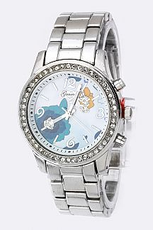 Stone Bezel Flower Dial Watch