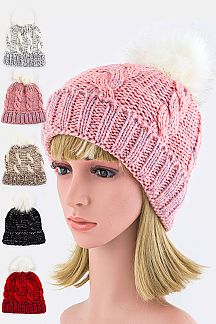 Cable Knit PomPom Fleeced Beanie