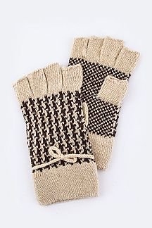Houndstooth Knit Fashion Fingerless Gloves
