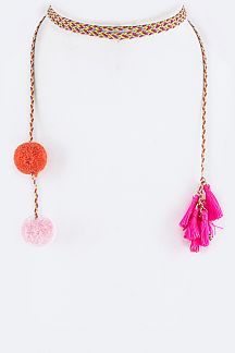 PomPom & Tassel End Wrapped Choker Necklace