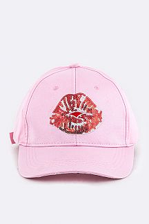 Sequins Lips Patch Cap