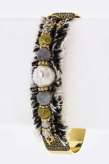 Mix Beads & Tasseled Bangle
