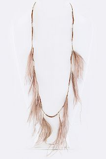 Bead & Fringe Feathers Necklace