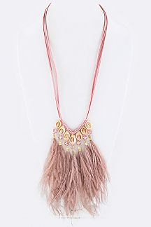 Shell & Feather Tassels Necklace