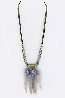 Layer Beads & Mix Feather Charm Necklace