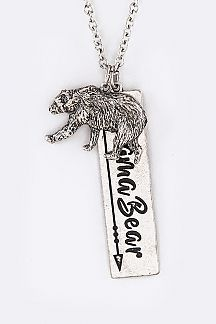 Mama Bear Pendant Long Necklace