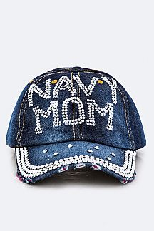 Crystal NAVY MOM Embelished Fashion Denim Cap