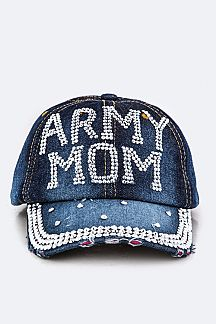 Crystal ARMY MOM Embelished Fashion Denim Cap