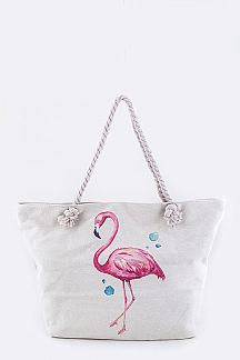 Flamingo Print Large Canvas Tote