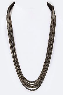 Leather & Layer Chains Necklace