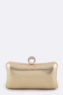 Crystal Ring Closure Metallic Box Clutch