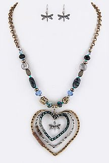 Dragonfly & Layer Heart Hoops Necklace Set