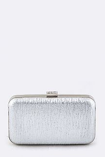 Textured Metallic Box Clutch