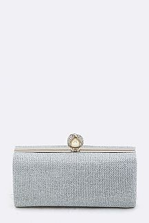 Pearl & Crystal Closure Metallic Box Clutch