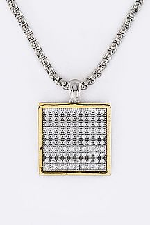 CZ Square Pendant Necklace