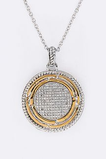 Reversible 2 Tone CZ Design Pendant Necklace