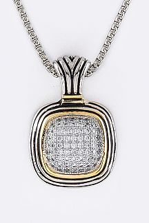 CZ 2 Tone Designed Pendant Necklace