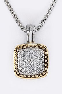 CZ Square Designed Pendant Necklace